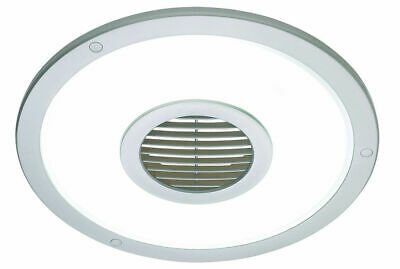 Silver Heller Round 250mm Ceiling Light/Exhaust Fan/Air flow/bathroom/laundry
