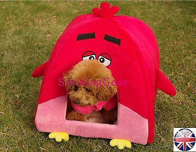 Red Bird Dog Cat Pet Easy Folding Padded Cushioning Bed House To Clear !!! - UK