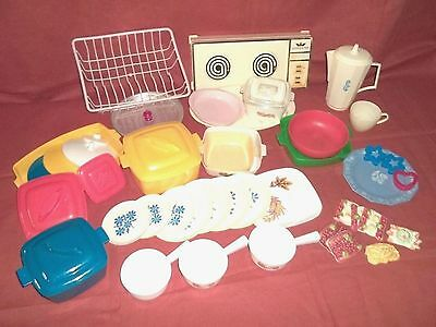 Vintage Mixed Lot 51 Piece Plastic Toy Dishes Food