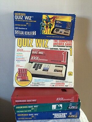 1978 COLECO QUIZ WIZ. With 5 Cartridge Quiz Books. TESTED WORKS SUPER HEROS.