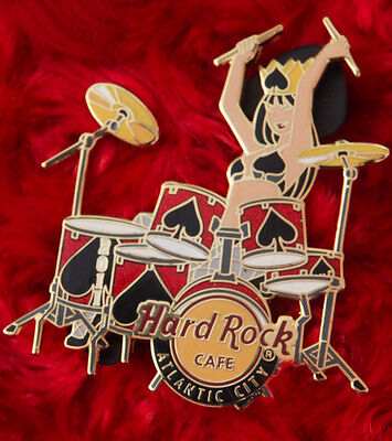 Hard Rock Cafe Pin Atlantic City QUEEN of SPADES SEXY DRUMMER GIRL drum stick LE