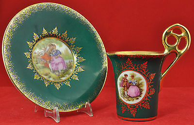 Bavarian miniature cup & saucer elaborate decoration of emerald green and gilt