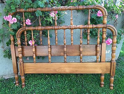 Antique Jenny Lind Style Wood Spool/Spindle Twin bed-Headboard and Footboard