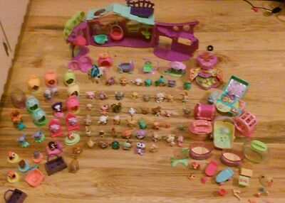 HUGE LOT OF LITTLEST PET SHOP FIGURES AND ACCESSORIES PLAYSET 100+ PIECES TOTAL