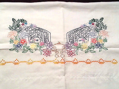 Vintage Linens Hand Embroidered & Sewn MATCHING Pillow Cases Stone Bridge Floral