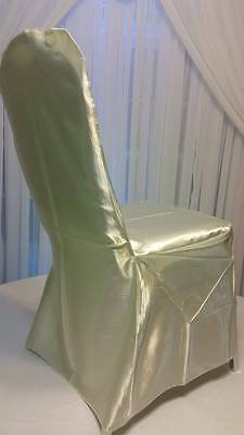 VIP LINENS - 100 wedding banquet chair cover + ivory satin - SPECIAL OFFER