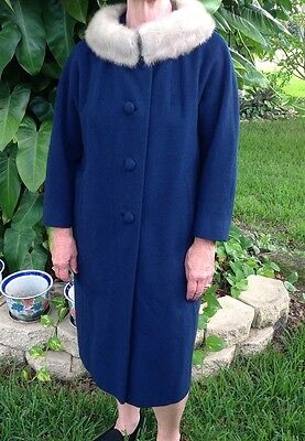 MAAS Brothers Cashmere Wool COAT Mink Collar Womens Medium To Large Blue 1960's