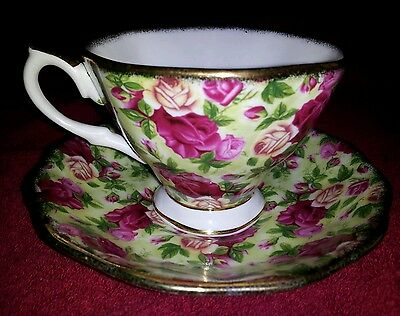 Royal Albert Old Country Roses Chintz Collection Gold Trimmed Teacup and Saucer