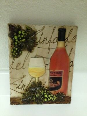 3D Wine Theme Grapes Wall Plaque!! Brand New!! Wine & Grape Decor! Wine Theme!