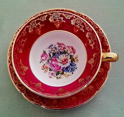 Stanley Fine Bone China Tea Cup & Saucer~Red~White~Floral~Gold Filigree