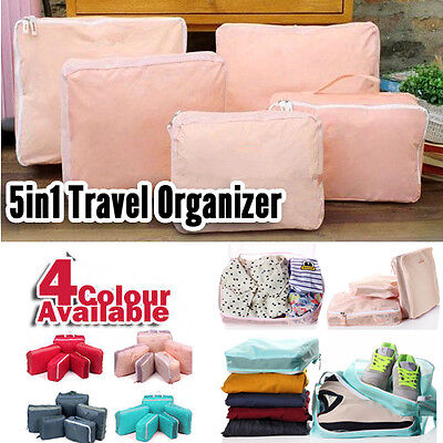 5-Sized Travel Luggage Packing Cube Bag Set Clothes Accessories Tidy Travel Kit