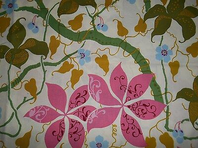 Cotton fabric - pale yellow, rose and sage green - 3/4 yard
