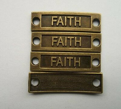 """Free Shipping 12 Pcs bronze plated """"FAITH"""" charms connector 35x9  mm"""