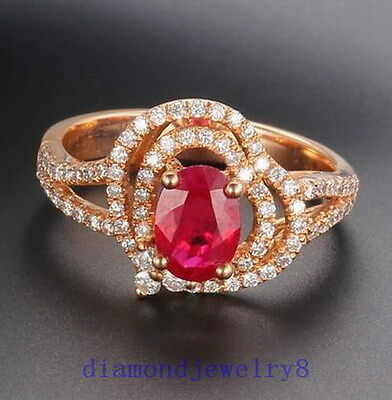 Solid 14K Rose Gold Genuine Natural VS Diamond Blood Ruby Engagement Ring