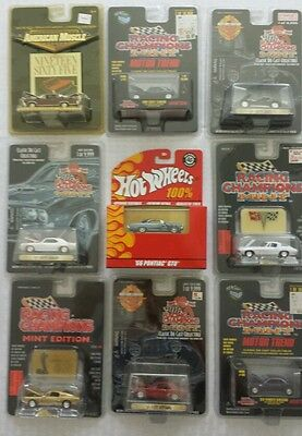 LOT OF 9- 100% HOT WHEELS, RACING CHAMPIONS & AMERICAN MUSCLE
