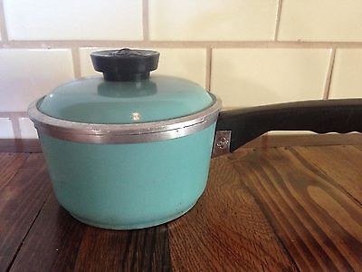 Vintage Aqua Club Thick Aluminum Sauce Pan With Lid Pot 3 Cup Blue Turquoise