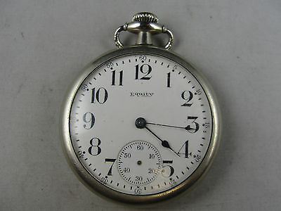 Equity 1953890 16s 7j 3/4 plate Pocket Watch Winds Sets Runs Free shipping