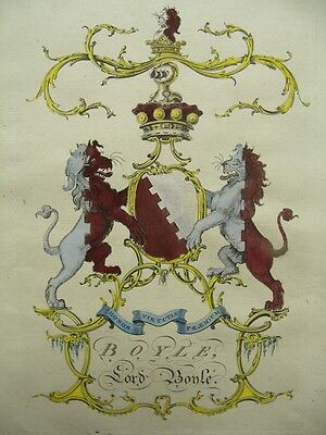 JACOBS ENGRAVING PEERAGE RARE COAT OF ARMS LORD BOYLE 1700'S  ANTIQUE PRINT