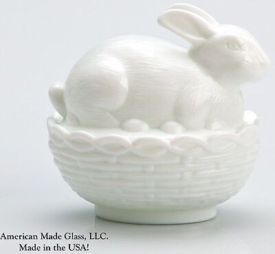 Milk Glass Covered Bunny Dish - Mosser USA