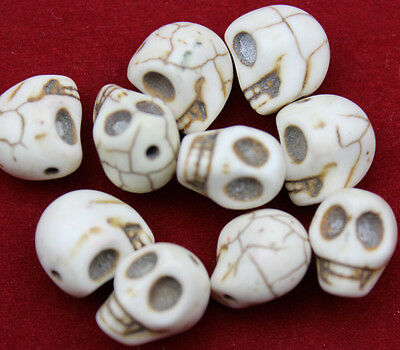 40 pcs very Good luck white turquoise skull charm spacer beads 12 mm