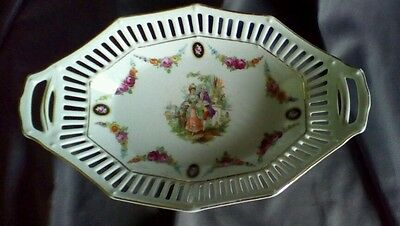 Elegant Schumann Bavaria Oval Reticulated Bowl w/ Courting Scene & Roses Germany