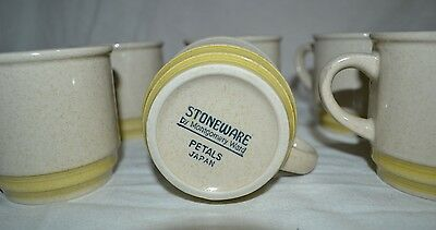 Stoneware by Montgomery Ward-Petals Set of 6 Cups GOOD CONDITION!!