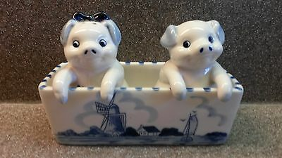 VINTAGE HAND PAINTED BLUE DELFT PIG SALT AND PEPPER SHAKERS