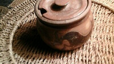 Vintage  Studio pottery ,Michael  Mosse lidded bowl with cows. 9 x 12cm roughly