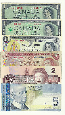 BUNDLE LOT of 6 CANADA BANK NOTES (3 x ONE's & 2 x TWO's and 1 x 5)