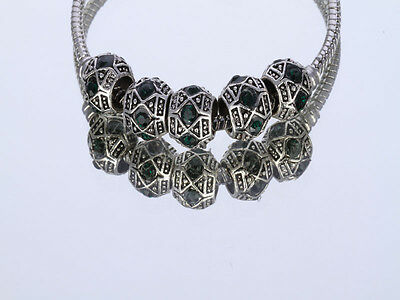 Free Shipping 5pcs silver  crystal spacer beads fit European Charm Bracelet/Z8