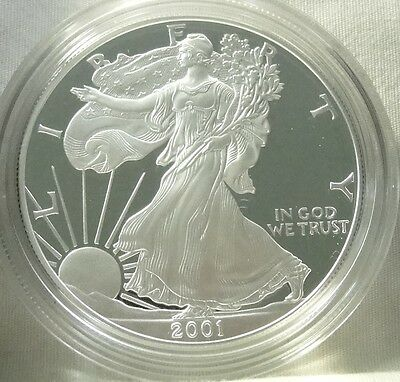 2001-W 1 oz Proof Silver American Eagle (w/Box & CoA), UNC, #9294