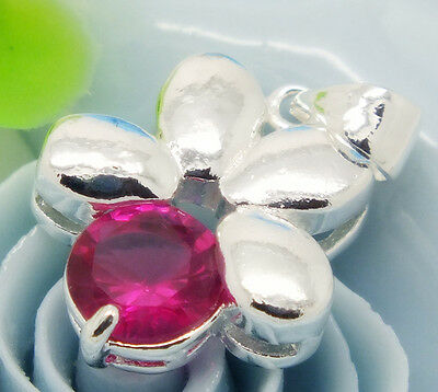 1 pc s80 silver beautiful rose red flower lady's pendant and necklace