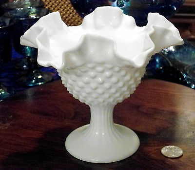 VINTAGE FENTON FLUTED HOBNAIL MILK GLASS FOOTED ROUND COMPOTE 5 7/8 IN CANDY