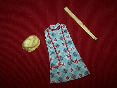 VTG 1960 Barbie Doll  Clothing Dress Blue Red Yellow Hat Belt Clean and Ironed.