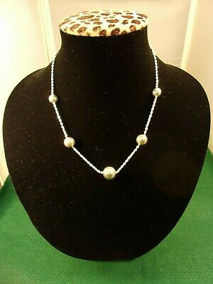 VERY NICE OLD VTG STERLING SILVER & BEADS (SEVERAL SIZES) LADIES NECKLACE, VGC