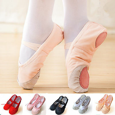 Kid Child Adult Ballet Canvas Dance Shoes Soft Pointe Gymnastics Dance Slippers