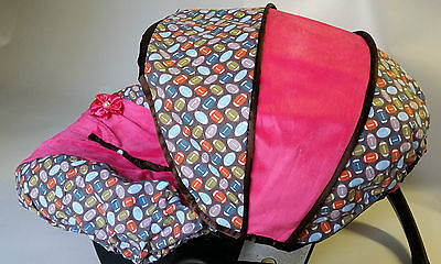 baby car seat cover canopy cover fit most infant car seat football print pink
