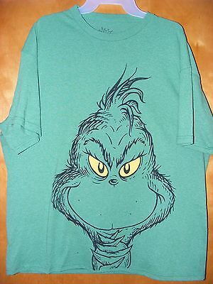 NEW Dr. Suess How The Grinch Stole Christmas Grinch Face Shirt - MEDIUM - H2