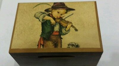 Vintage Cuendet Swiss Music Box Hummel Child playing violin Holiday in Swiss 269