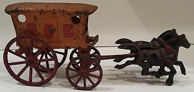Early 20th Century Cast Iron Horse Drawn Ice Wagon