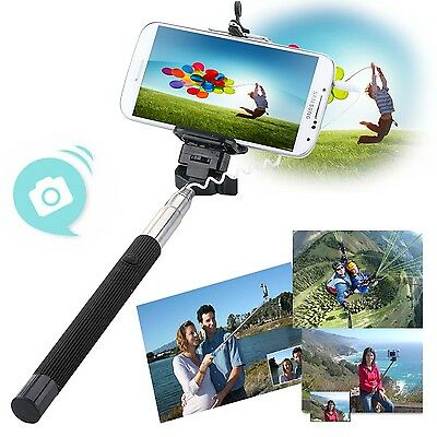 Extendable Handheld Wired Selfie Stick Monopod Remote Shutter For iPhone Samsung