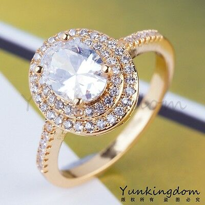 Classic Gorgesou Wedding C.Z Women Lady Real 18K Gold Plated Rings W0013 Size 7