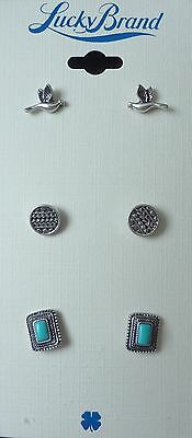 NWT LUCKY BRAND SILVER TONE SET OF 3 STUD EARRINGS BIRD, DISC & TURQUOISE STONE