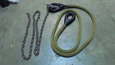 """Military Tow Rope and Chain -1 1/8"""" double braid nylon-1/4"""" chain"""