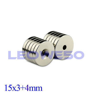 5/10/25/50 Round Magnet 15x3mm with 4mm Hole Rare Earth Neodymium Magnet 741