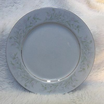 Crescent Fine China Jie Pai Dinner Plate Pink Blue Flowers Silver Rim EX