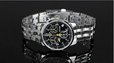 New Men Black Dial Stainless Steel T-Sport Chronograph T17.1.586.52 PRC200 Watch