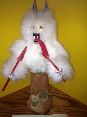 Vintage Kachina doll White Wolf Fur and painted... signed