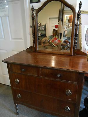 ANTIQUE 1900'S DRESSER WITH SWING MIRROR WITH CASTERS