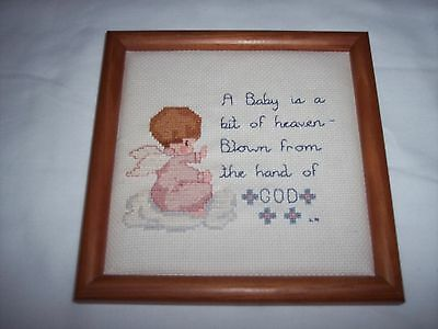 Cross Stitch ~ Completed, Framed ~ Baby, A Bit of Heaven ~ 8 x 8